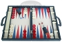 Zaza & Sacci Leather/Microfiber Backgammon Set - Model ZS-760 - Large - Blue
