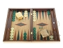 19-inch Inlaid Oak Folding Wood Backgammon Set - Green