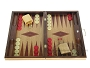 19-inch Inlaid Oak Folding Wood Backgammon Set - Red