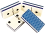 DOUBLE 6 Blue Bee Themed Dominoes Set - With Spinners - Vinyl Box