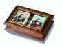 Glass Covered Wooden Double Card Case