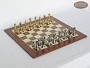 Professional Brass Tournament Chessmen with Spanish Wood Chess Board