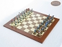 American Civil War Chessmen with Spanish Traditional Chess Board [Large]