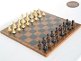 Classic Staunton Chessmen with Patterned Italian Leatherette Board
