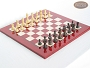 Classic Staunton Chessmen with Italian Lacquered Chess Board [Red]
