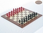 Red and Black Maple Staunton Chessmen with Spanish Wood Chess Board [Large]