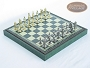 Teutonic Brass/Silver Chessmen with Patterned Italian Leatherette Chess Board with Storage [Green]
