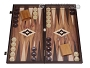 19-inch Wood Backgammon Set - Walnut with Printed Field