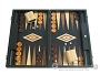 19-inch Black Backgammon Set - Olive Wood Checkers