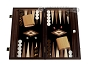 15-inch Olive Root Backgammon Set - Black Field