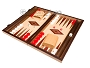 15-inch Walnut and Oak Backgammon Set - Red