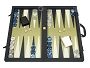 Dal Negro Composite Fiber/Leatherette Backgammon Set - Calypso Blue with Gold Field