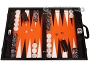 Wycliffe Brothers® Tournament Backgammon Set - Black Croco with Orange Field - Gen II