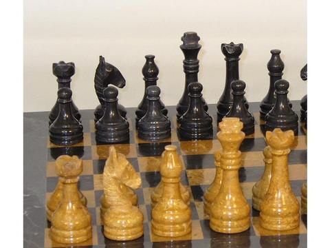 16 in. Black and Golden Marble Chess Set