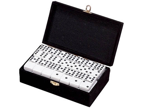 DOUBLE 9 White Dominoes Set - With Spinners - Velvet Box