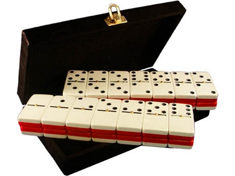 DOUBLE 6 Two-Tone Red + White Dominoes Set - With Spinners - Velvet Box