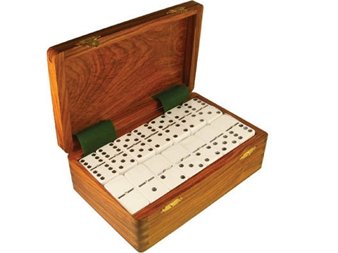 DOUBLE 9 White Dominoes Set - With Spinners - Wood Box