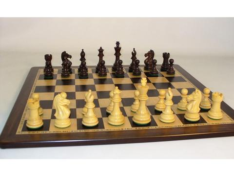Pro Rosewood Chessmen with Ebony and Birdseye Maple Chess Board