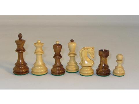Old Russian Sheesham Chessmen with Ebony and Birdseye Maple Chess Board