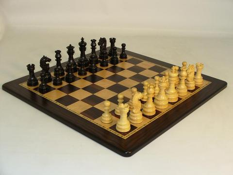 Black Lotus Chessmen with Large Ebony and Birdseye Maple Chess Board
