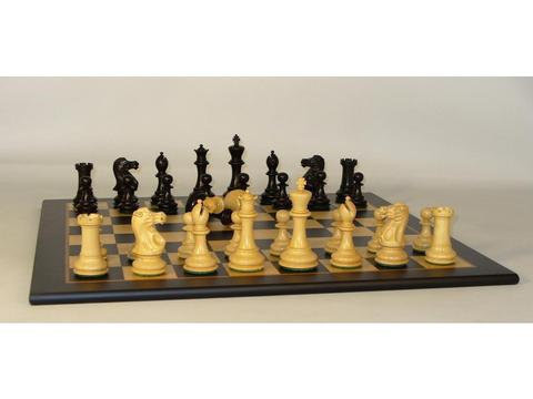 Classic Black and Natural Boxwood Chessmen with Black and Madrona Burl Chess Board