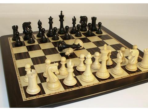 Chetak Ebony Chessmen with Ebony Birdseye Maple Chess Board