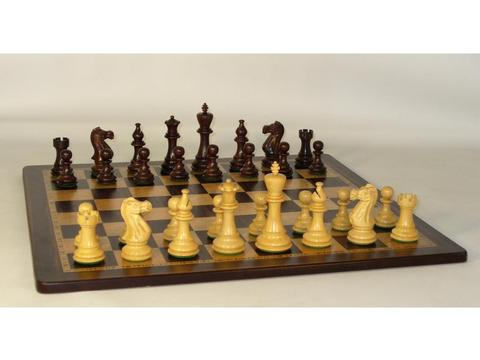 American Classic Rosewood Chessmen with Ebony and Birdseye Maple Inlaid Chess Board