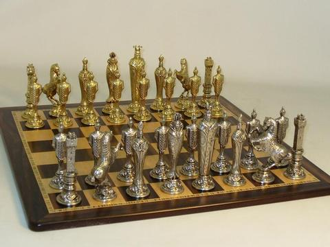 Renaissance Chess Set - Nickel Chessmen with Ebony and Birdseye Maple Wood Chess Board