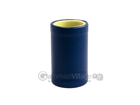 Blue Leatherette Backgammon Dice Cup - Yellow Interior with Trip Lip