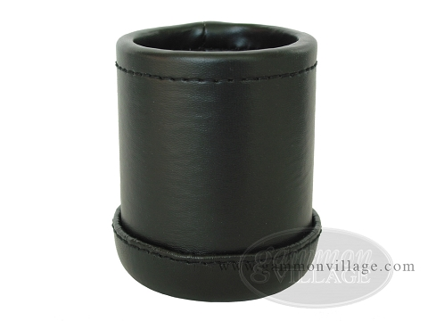 Vinyl Backgammon Dice Cup - Round - Black