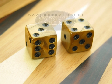 Square High Gloss Swoosh Dice - Gold (1 pair)