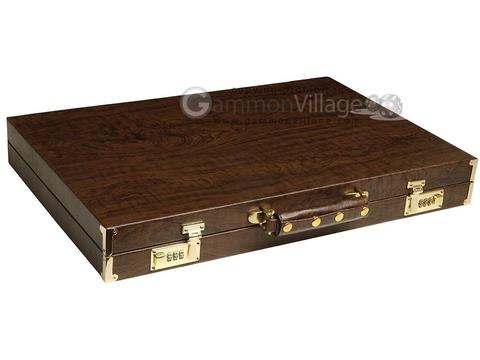 GammonVillage Tournament Backgammon Set - Champion Class - Brown Case - Beige Field - Black/Brown Points