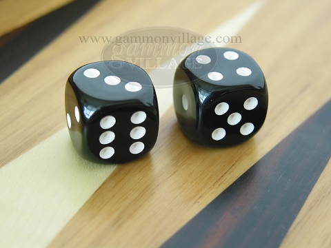 Rounded High Gloss Solid Dice - Black (1 pair)