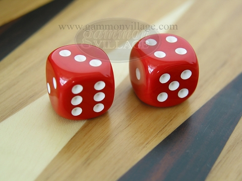 Rounded High Gloss Solid Dice - Red (1 pair)