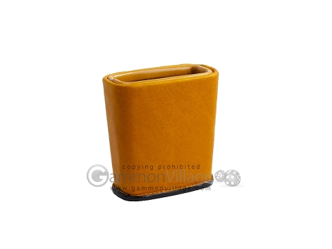 Leather Backgammon Dice Cup - Oval - Light Brown