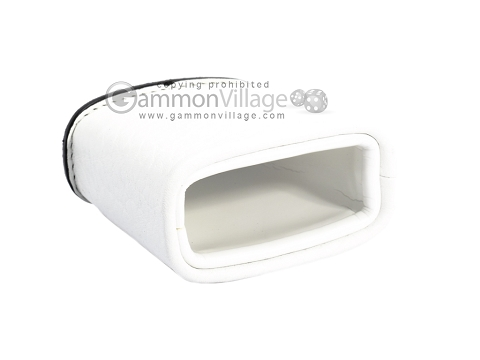 Leather Backgammon Dice Cup - Oval - White