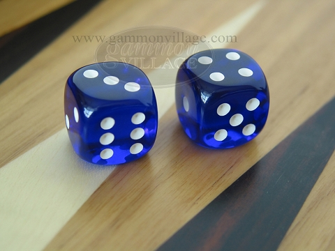Rounded High Gloss Lucent Dice - Blue (1 pair)