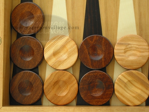 Backgammon Checkers - Olive Wood - Brown - Set of 30