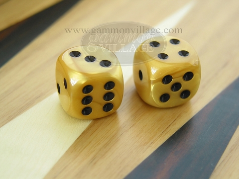 Rounded High Gloss Flecked Dice - Gold (1 pair)