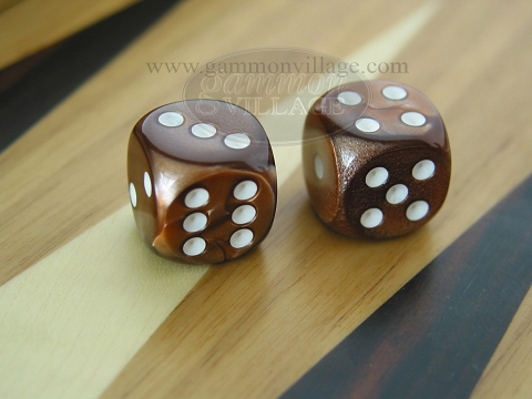 Rounded High Gloss Flecked Dice - Brown (1 pair)