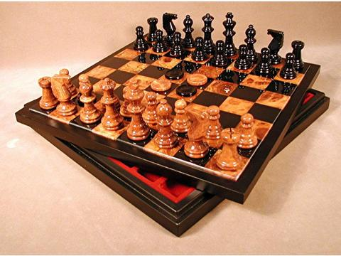 Chess & Checkers Set: Alabaster Black & Brown with Chest