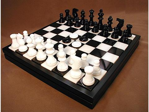 Chess & Checkers Set - Alabaster Black