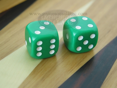 Rounded Solid Dice - Green (1 pair)