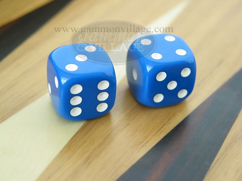 Rounded Solid Dice - Blue (1 pair)