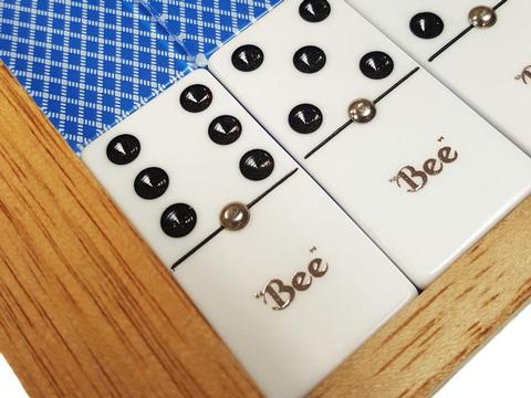 Blue Bee Card Back Dominoes - Double 6 - Deluxe Wood Case