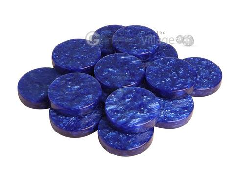 Backgammon Checkers - Grizzly Acrylic - Blue - Roll of 15