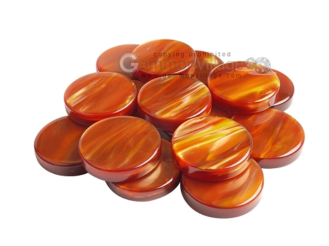 Backgammon Checkers - Pearled Acrylic - Amber - Roll of 15