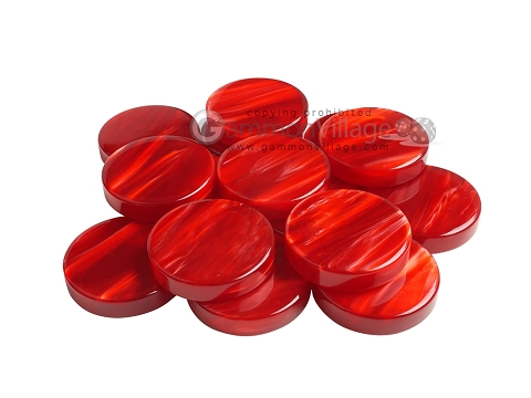 Backgammon Checkers - Pearled Acrylic - Red - Roll of 15