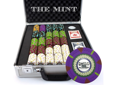 13.5gram The Mint Composite Clay Poker Chips - Heavy Duty Claysmith Case - 500 Chips