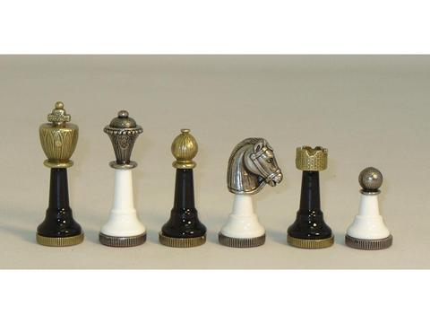 Staunton Metal & Wood Black & White Chessmen